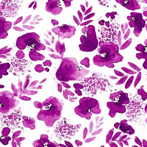 Floret Floral Pattern in Magenta Purple