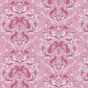 Cat Silhouettes Damask Pink