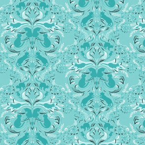 Cat Silhouettes Damask Teal