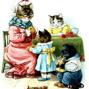 vintage kids kitsch cats kittens mothers children brothers sisters knitting wool dolls trains playing studying reading books family traditional bond