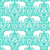 Elephant Damask Turquoise Mint