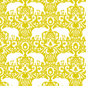 Elephant Damask Mustard Green