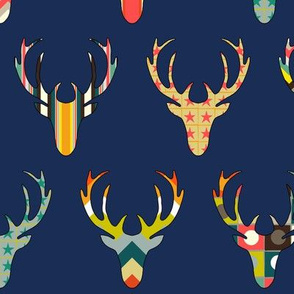 retro deer head navy
