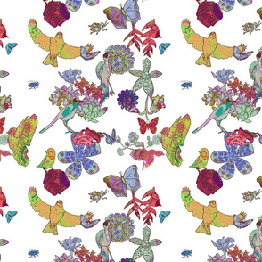 Ghana Fantastic Floral on White Petite