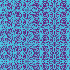 Turquoise and Purple Sketch