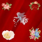 Red romantic silk vintage angel floral pattern