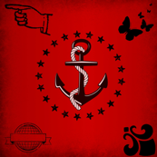 Marine red anchor vintage pattern