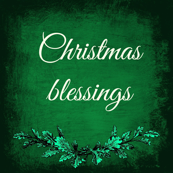 Christmas blessings green vintage shabby chic