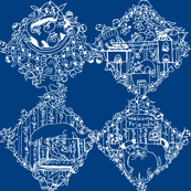Welcome Friends Damask (White/Blue)