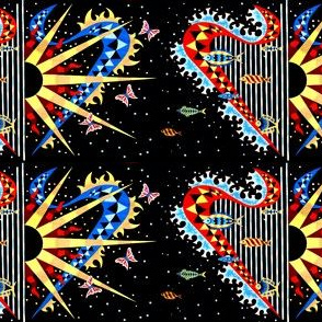 vintage tribal folk art abstract harps fishes butterfly butterflies sun stars hearts