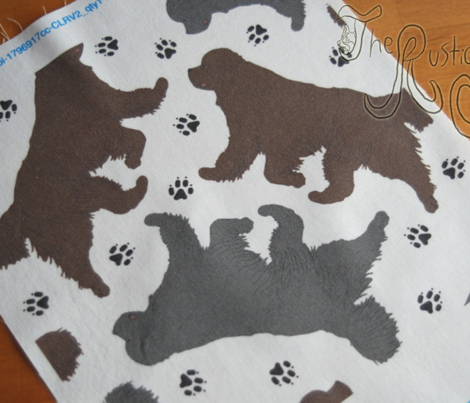 Trotting Newfoundlands and paw prints - white