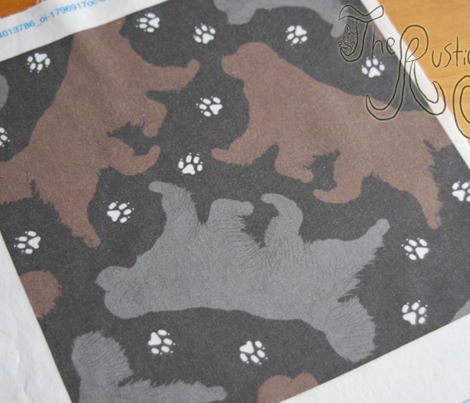 Trotting Newfoundlands and paw prints - black