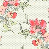 Vintage Floral Dot Green