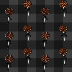 Halloween Lollipop Gray Gingham