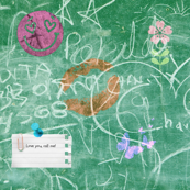 green blackboard with collage