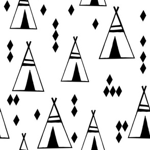 Teepees - Black and White by Andrea Lauren