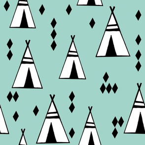 Teepees - Pale Turquoise by Andrea Lauren