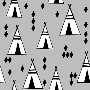 Teepees - Slate by Andrea Lauren