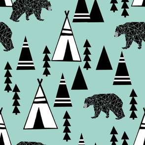 tipi forest // southwest bear mint nursery print