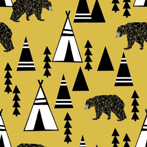 Teepee Forest - Mustard by Andrea Lauren