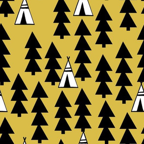 Teepee Trees - Mustard by Andrea Lauren