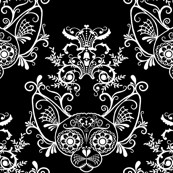 Black with White Damask Sugar Skull Sphynx Cats