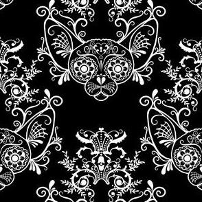 Black with White Damask Sugar Skull Sphynx Cats
