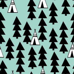Tee Pee Trees - Pale Turquoise by Andrea Lauren
