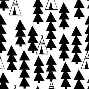 Tee Pee Trees - White and Black by Andrea Lauren