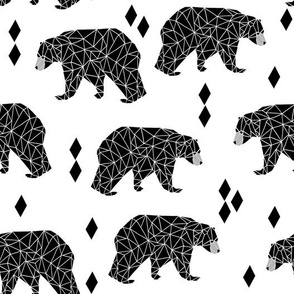 Geo Black Bear - Black and White by Andrea Lauren