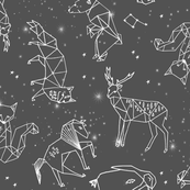 constellations // night time stars sky charcoal grey kids nursery baby print