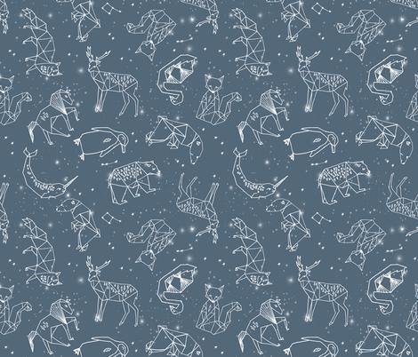 constellations // animal geometric origami illustration blue sky night sky kids nursery baby
