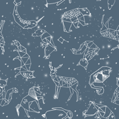constellations // animal geometric origami illustration blue sky night sky kids nursery baby
