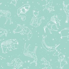 constellations // nursery baby kids mint constellations stars kids animals fox dream night time