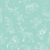 constellations // nursery baby kids mint constellations stars kids animals fox dream night time