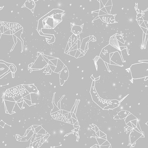 constellations // grey animals geometric origami kids nursery baby minimal monochrome print