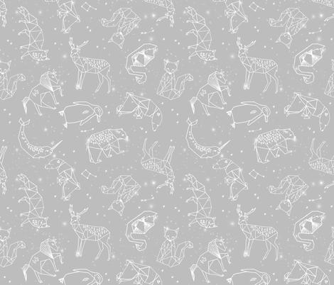 constellations // grey animals geometric origami kids nursery baby minimal monochrome print