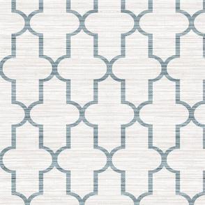 Faux Grasscloth Quatrefoil in Mineral