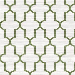 Grasscloth Moroccan Quatrefoil in Green