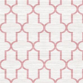 Textured Moroccan Quatrefoil in Pink