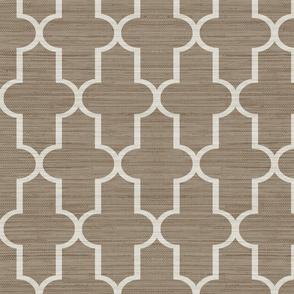 Grasscloth Textured Moroccan Quatrefoil