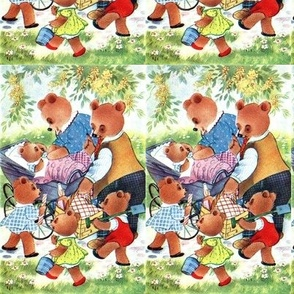 vintage kids bears family outing picnic forest trees grass parents father mother brothers sisters baby infant pram children flowers