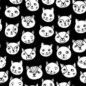 cat head // cat faces cat head cute cats design best black and white cat fabric
