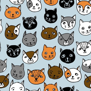 Cat Faces - Columbia Blue Multi by Andrea Lauren