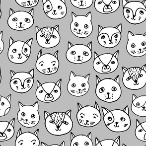 Cat Faces - White and Slate by Andrea Lauren