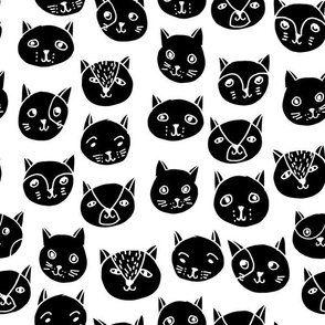 cat faces // black and white cat head fabric cat heads fabric hipster cats
