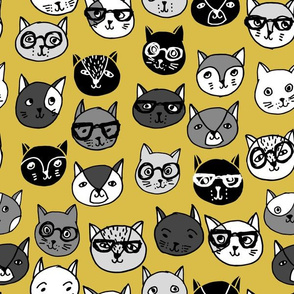 Cat Faces - Mustard by Andrea Lauren