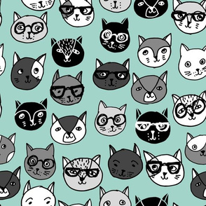 cat faces // mint cat head cats faces cats head hipster cats cute  pet cat fabric