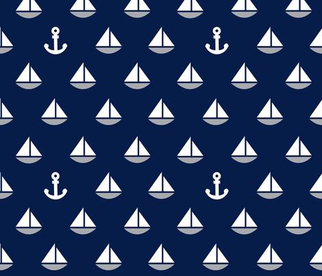 Little Blue Boats - Navy Background