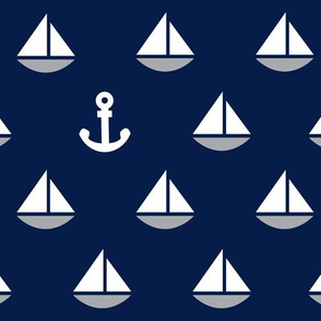 Little Blue Boats - Navy Background